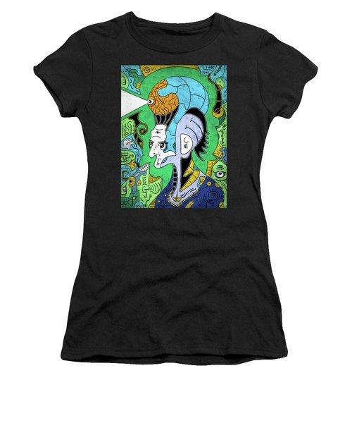 Women's T-Shirt featuring the digital art Brain-man by Sotuland Art
