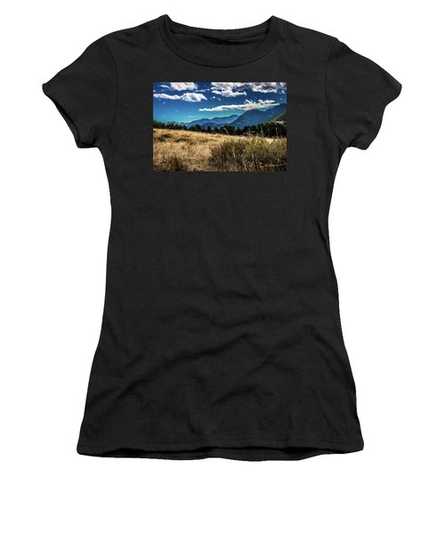 Women's T-Shirt (Athletic Fit) featuring the photograph Brown Grass And Mountains by James L Bartlett