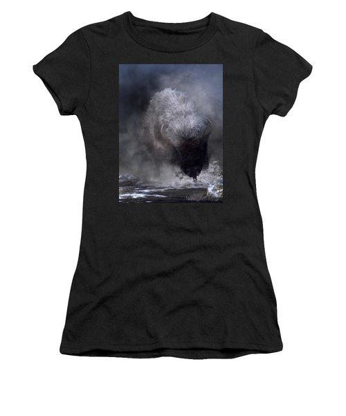 Buffalo Charging Through Snow Women's T-Shirt