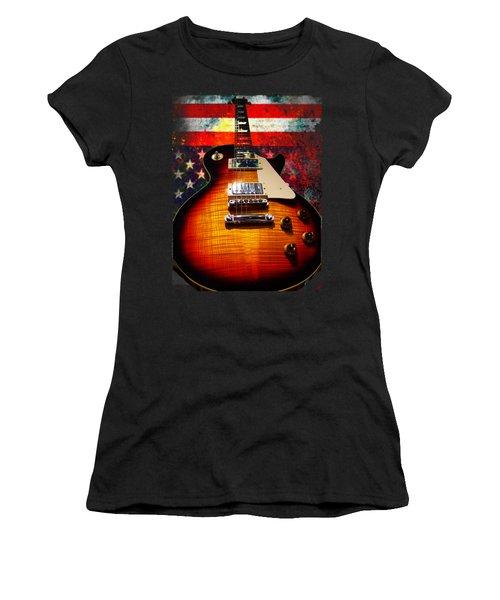 Burst Guitar American Flag Background Women's T-Shirt