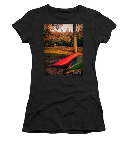 Women's T-Shirt (Athletic Fit) featuring the pyrography Canoes And A Boathouse by Rachel Hannah