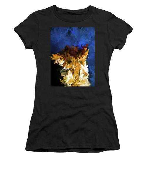 Cat And The Cobalt Blue Wall Women's T-Shirt (Athletic Fit)