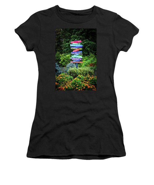 Women's T-Shirt (Athletic Fit) featuring the photograph Choices - Finger Lakes, New York by Lynn Bauer