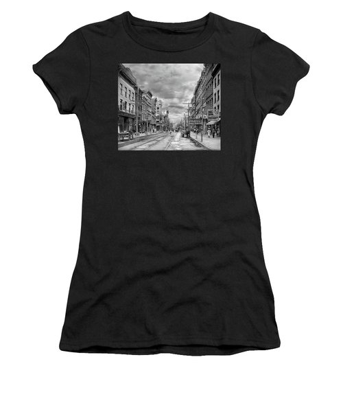 Women's T-Shirt (Athletic Fit) featuring the photograph City - Poughkeepsie Ny - The Ever Changing Market Place 1906 - Black And White by Mike Savad