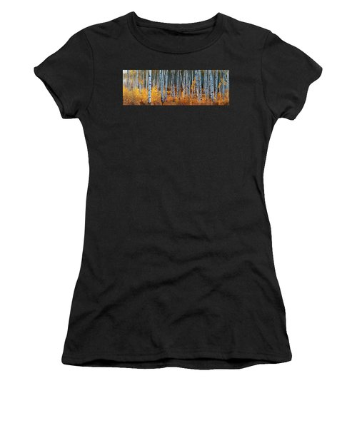 Women's T-Shirt (Athletic Fit) featuring the digital art Colorado Autumn Wonder Panorama by OLena Art Brand