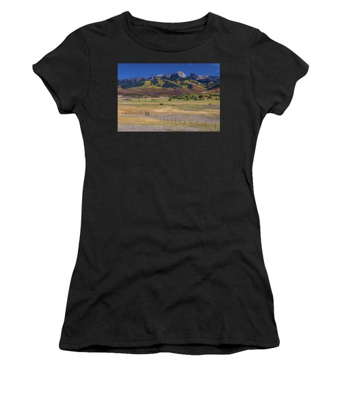 Women's T-Shirt (Athletic Fit) featuring the photograph Courthouse Mountains And Chimney Rock Peak by James BO Insogna