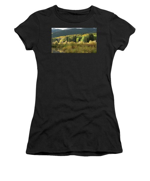Women's T-Shirt (Athletic Fit) featuring the photograph Crested Butte Colorado Fall Colors Panorama - 1 by OLena Art Brand