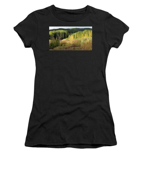 Women's T-Shirt (Athletic Fit) featuring the photograph Crested Butte Colorado Fall Colors Panorama - 2 by OLena Art Brand