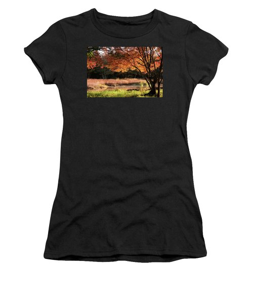 Women's T-Shirt featuring the photograph Dawn Lighting Rhode Island Fall Colors by Jeff Folger