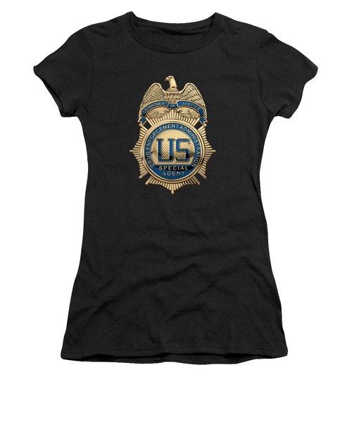 Drug Enforcement Administration -  D E A  Special Agent Badge Over Blue Velvet Women's T-Shirt