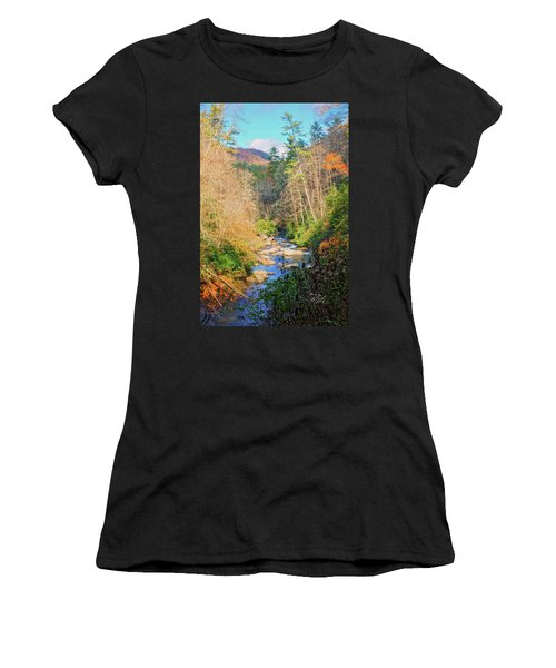 Women's T-Shirt (Athletic Fit) featuring the photograph Dry Falls Stream by Meta Gatschenberger