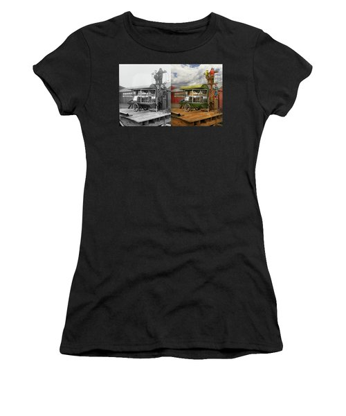 Women's T-Shirt (Athletic Fit) featuring the photograph Electrician - Linemen - Installing Search Lights 1929 - Side By Side by Mike Savad