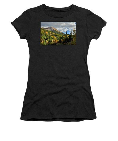 Fall Color Aspens Beneath Red Mountain Women's T-Shirt