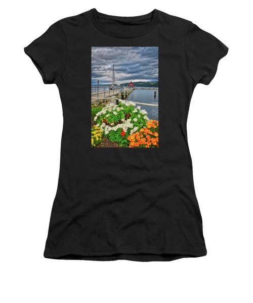 Women's T-Shirt (Athletic Fit) featuring the photograph Fall Flowers At Seneca Lake Marina by Lynn Bauer
