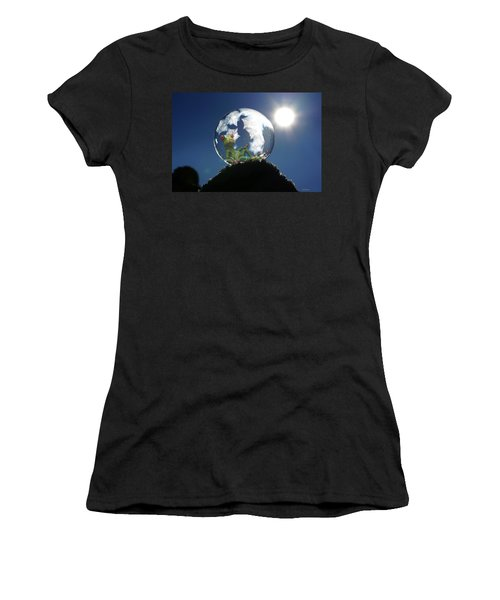 Women's T-Shirt (Athletic Fit) featuring the digital art Frog Relaxing In A Bubble by Ericamaxine Price