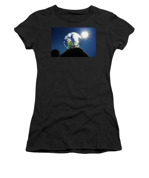 Women's T-Shirt (Athletic Fit) featuring the digital art Frogs In A Bubble by Ericamaxine Price