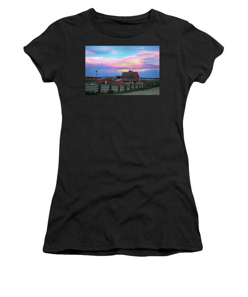 Women's T-Shirt (Athletic Fit) featuring the photograph Ghost Horses Pastel Sky Timed Stack by James BO Insogna