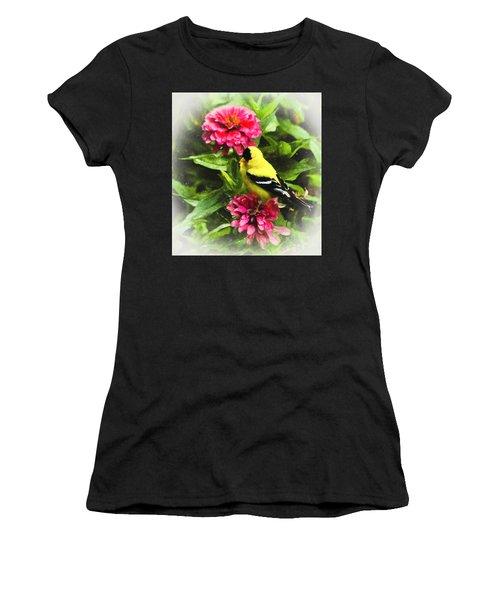 Goldfinches Love Zinnias Women's T-Shirt