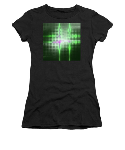 Green Aluminum Sparkling Surface. Metallic Geometric Abstract Fashion Background. Women's T-Shirt