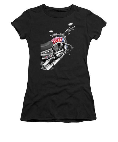 Harley Davidson Screamin Eagle Stars And Stripes On Black Women's T-Shirt
