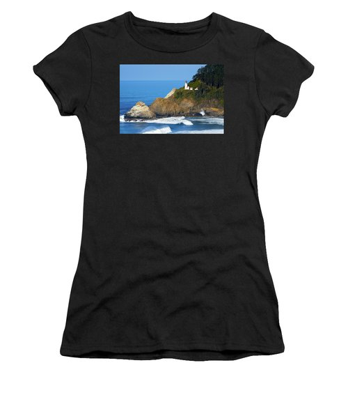 Women's T-Shirt (Athletic Fit) featuring the photograph Heceta Head Lighthouse1107 by Rospotte Photography