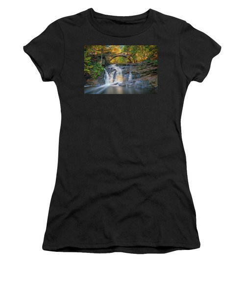 Women's T-Shirt (Athletic Fit) featuring the photograph High Arch Bridge In Vaughan Woods by Rick Berk