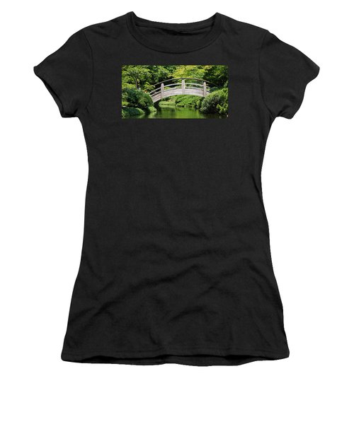 Women's T-Shirt featuring the photograph Japanese Garden Arch Bridge In Springtime by Debi Dalio