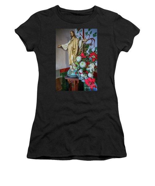 Jesus Christ With Flowers Women's T-Shirt
