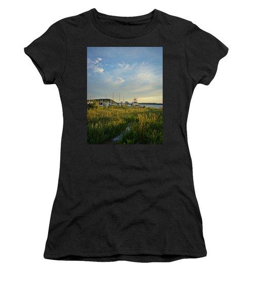 Leland Harbor At Sunset Women's T-Shirt
