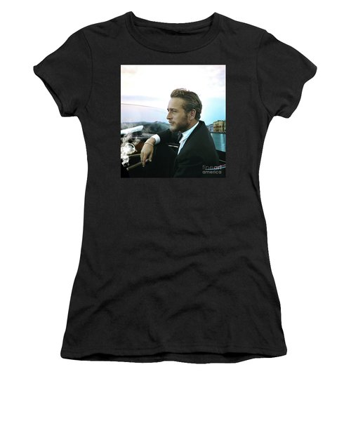 Life Is A Journey, Paul Newman, Movie Star, Cruising Venice, Enjoying A Cuban Cigar Women's T-Shirt