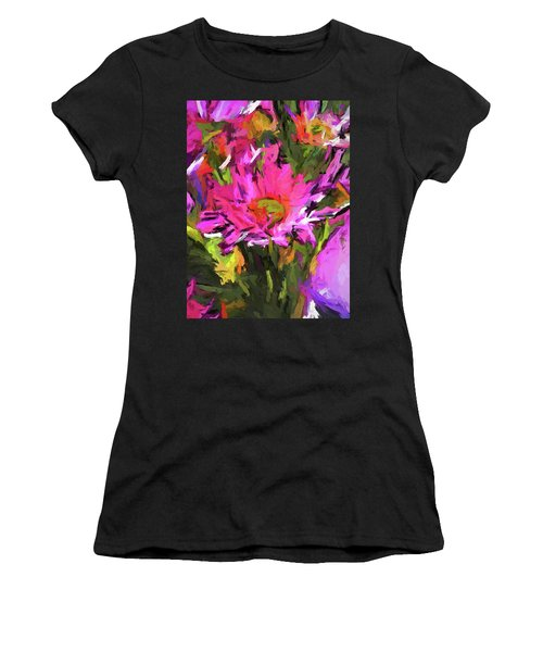 Lolly Pink Daisy Flower Women's T-Shirt (Athletic Fit)