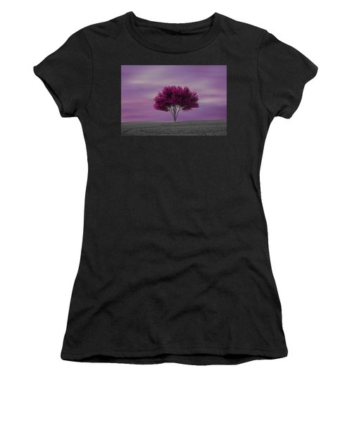 Lonely Tree At Purple Sunset Women's T-Shirt