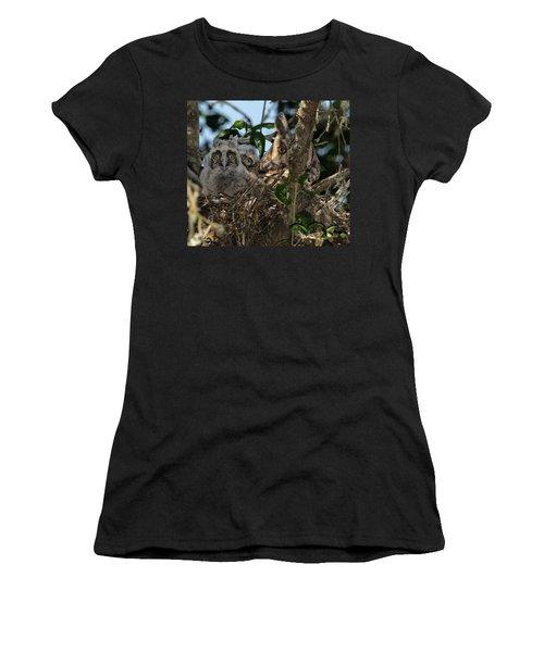 Long-eared Owl And Owlets Women's T-Shirt