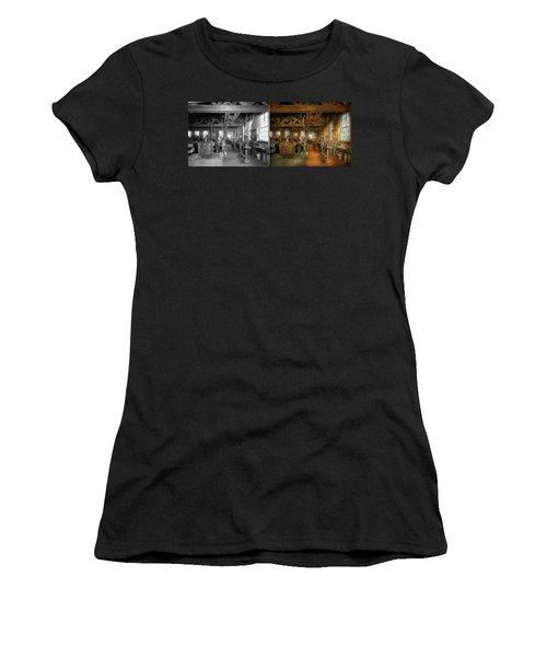 Women's T-Shirt (Athletic Fit) featuring the photograph Machinist - The Glazier Stove Company 1900 - Side By Side by Mike Savad