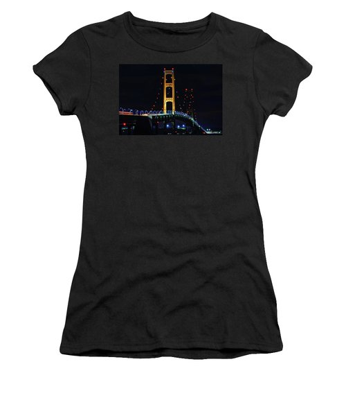Women's T-Shirt (Athletic Fit) featuring the photograph Mackinac Bridge Lit Up by Dan Sproul