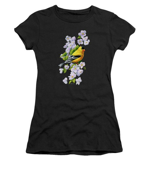 Male American Goldfinch And Apple Blossoms Women's T-Shirt