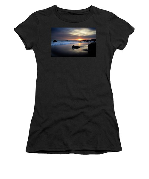 Women's T-Shirt (Athletic Fit) featuring the photograph Malibu Sunset by John Rodrigues