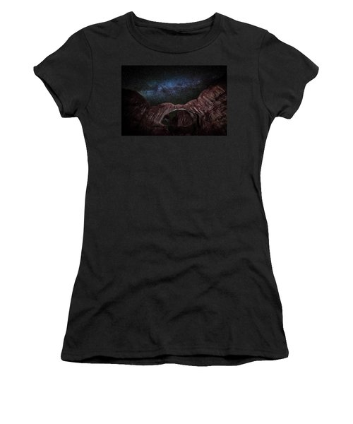 Women's T-Shirt (Athletic Fit) featuring the photograph Milky Way At Double Arch by David Morefield