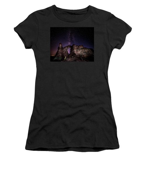 Women's T-Shirt (Athletic Fit) featuring the photograph Milky Way Over Turret Arch by David Morefield