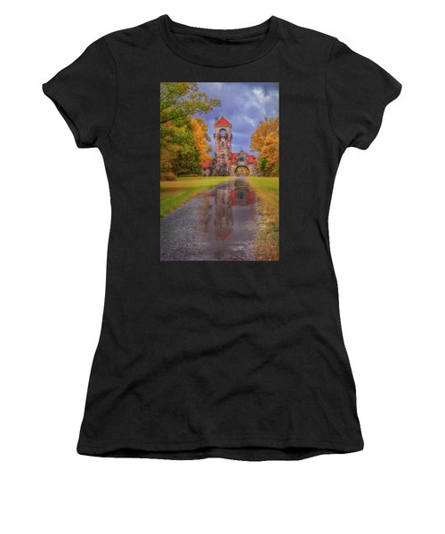 Women's T-Shirt (Athletic Fit) featuring the photograph Mohonk Preserve Gatehouse  Ny Fall  by Susan Candelario