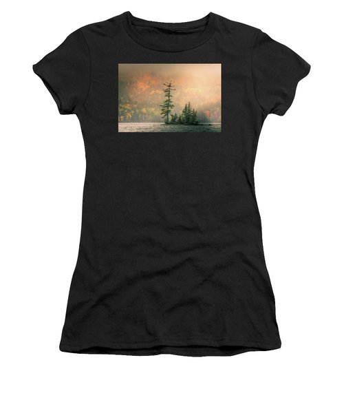 Women's T-Shirt (Athletic Fit) featuring the photograph Moody Autumn Morning On Moosehead Lake by Dan Sproul