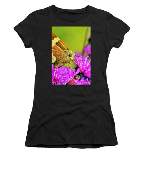 Moth On Purple Flower Women's T-Shirt