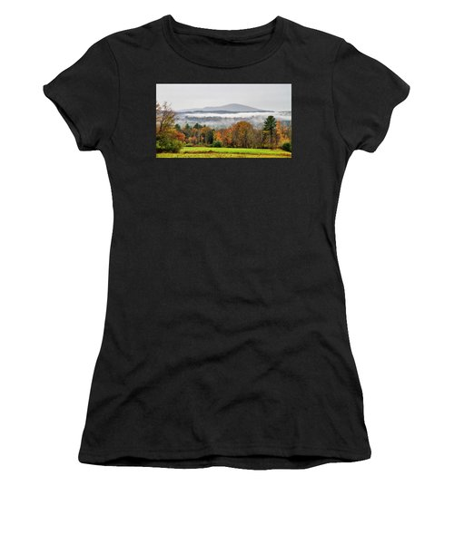 Women's T-Shirt (Athletic Fit) featuring the photograph Mt. Kearsage Foggy View by Betty Pauwels