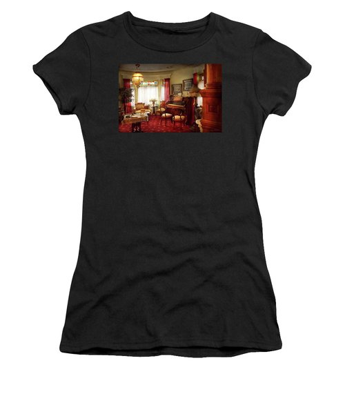 Women's T-Shirt (Athletic Fit) featuring the photograph Music - Organ - In The Parlor by Mike Savad