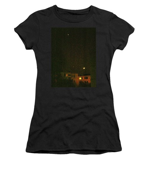 Women's T-Shirt featuring the photograph Night Lights by Attila Meszlenyi