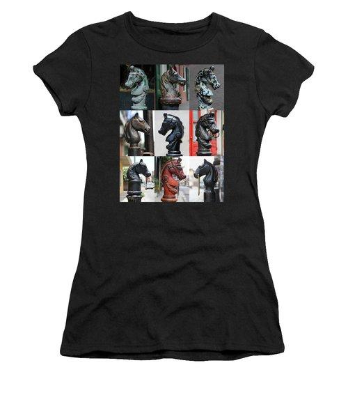 Nine Horse Head Hitching Posts Women's T-Shirt