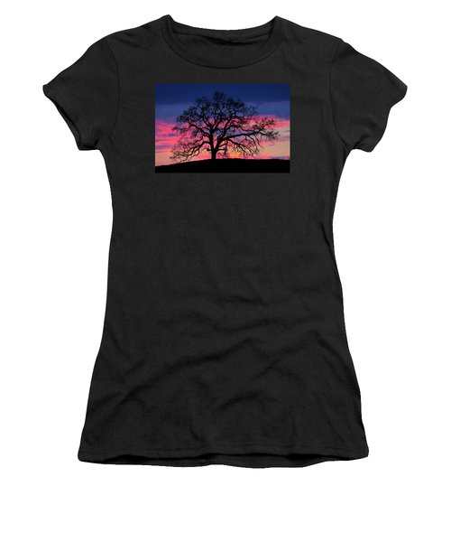 Women's T-Shirt (Athletic Fit) featuring the photograph Old Oak Sunset by John Rodrigues
