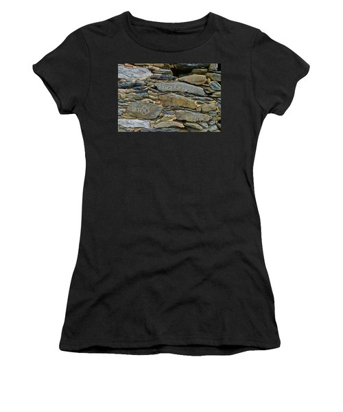 Old Schist Wall With Several Dates From 19th Century. Portugal Women's T-Shirt