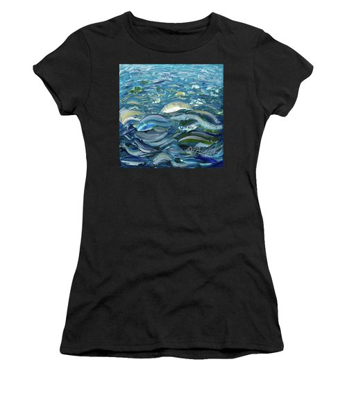 Women's T-Shirt (Athletic Fit) featuring the painting Original Oil Painting With Palette Knife On Canvas - Impressionist Roling Blue Sea Waves  by OLena Art Brand
