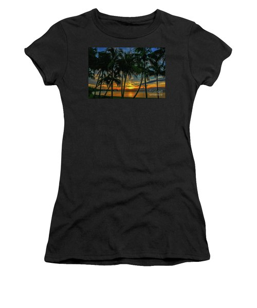Women's T-Shirt featuring the photograph Palm Tree Lagoon Sunrise by Tom Claud